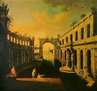 vue d'un palais en perspective [&] rampe d'escalier pres d'un jardin by jean marieige